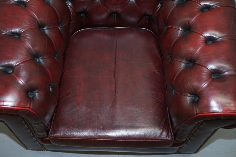 Hand-Crafted Pair of Vintage Oxblood Leather Hand Made in England Chesterfield Club Armchairs For Sale