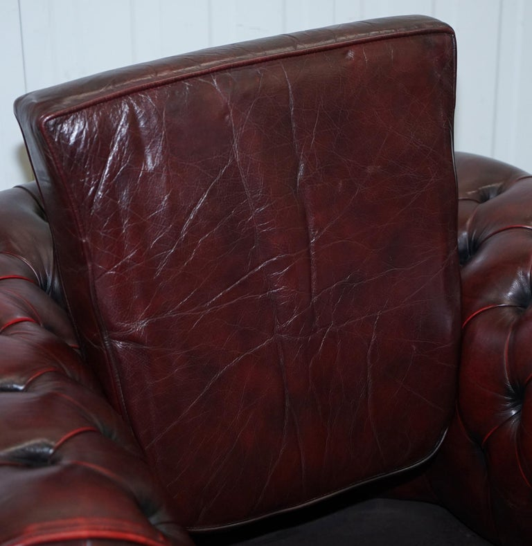 Pair of Vintage Oxblood Leather Hand Made in England Chesterfield Club Armchairs For Sale 2