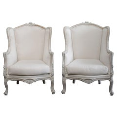 Pair of Vintage Painted French Style Wing Back Bergere Chairs