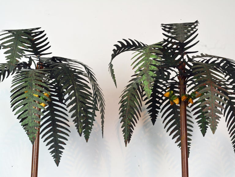 Mid-Century Modern Pair of Vintage Painted Tole Coconut Palms in Classical Themed Tole Planters