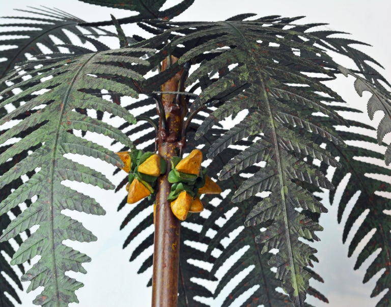 English Pair of Vintage Painted Tole Coconut Palms in Classical Themed Tole Planters For Sale