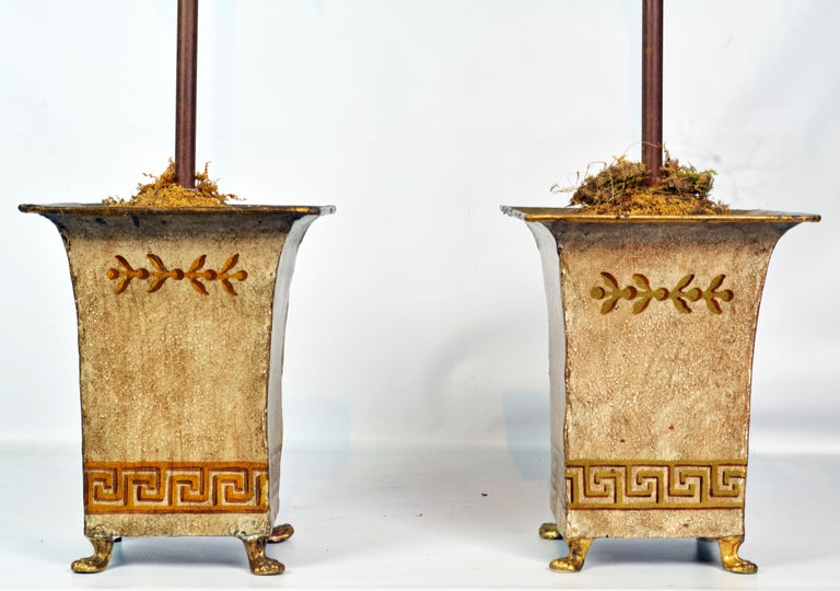 Pair of Vintage Painted Tole Coconut Palms in Classical Themed Tole Planters In Good Condition For Sale In Ft. Lauderdale, FL