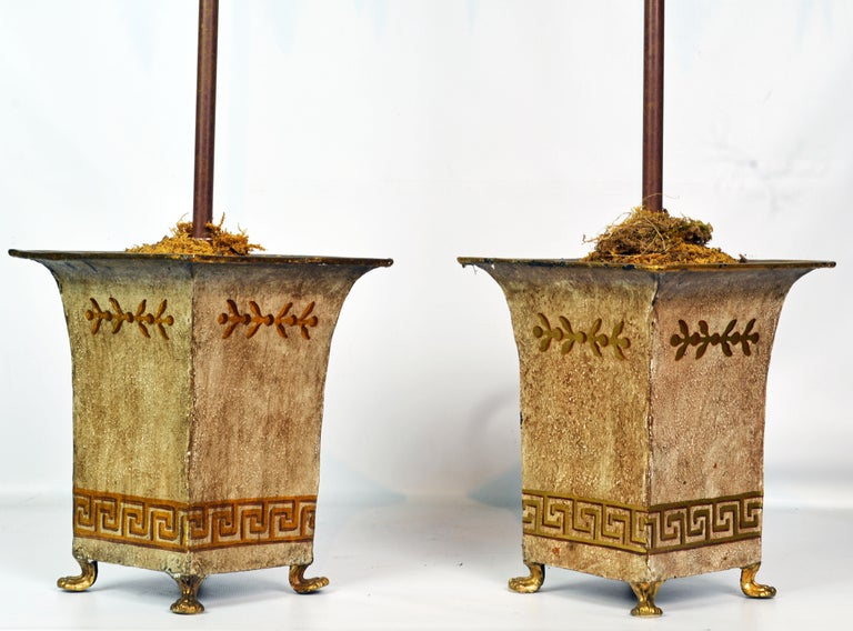 Pair of Vintage Painted Tole Coconut Palms in Classical Themed Tole Planters For Sale 1
