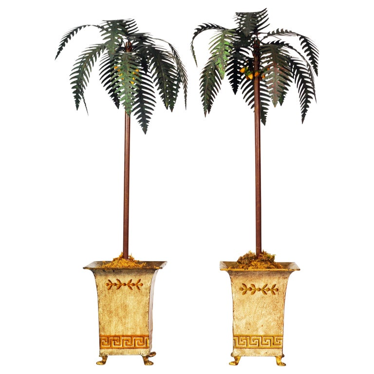 Pair of Vintage Painted Tole Coconut Palms in Classical Themed Tole Planters For Sale