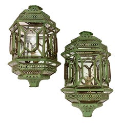 Pair of Vintage Painted Tole Wall Lanterns