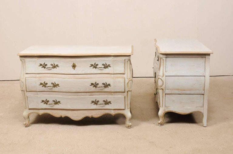 20th Century Pair of Mid-20th C. Painted Wood Bombé Style Chest of Drawers w/Scalloped Skirts For Sale