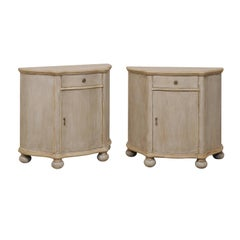 Pair of Vintage Painted Wood Demi-Styled Cabinets on Rounded Bun Feet
