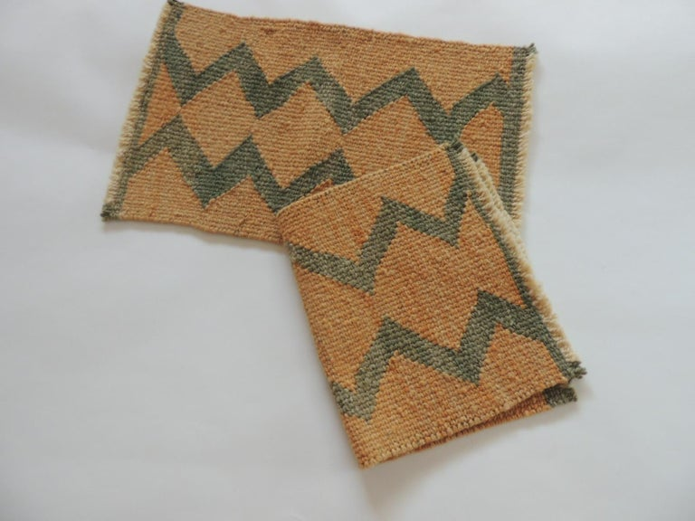 Tribal Pair of Vintage Pale Orange and Green Woven Rug Samples For Sale
