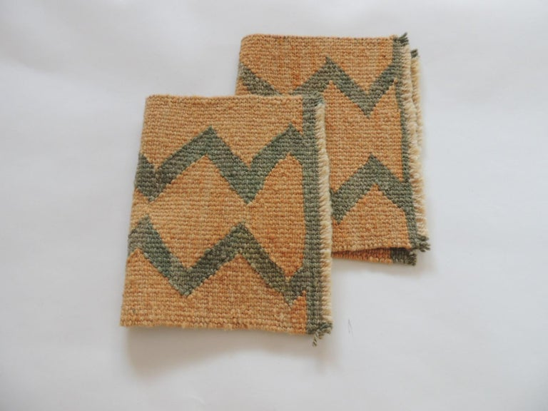 Spanish Pair of Vintage Pale Orange and Green Woven Rug Samples For Sale