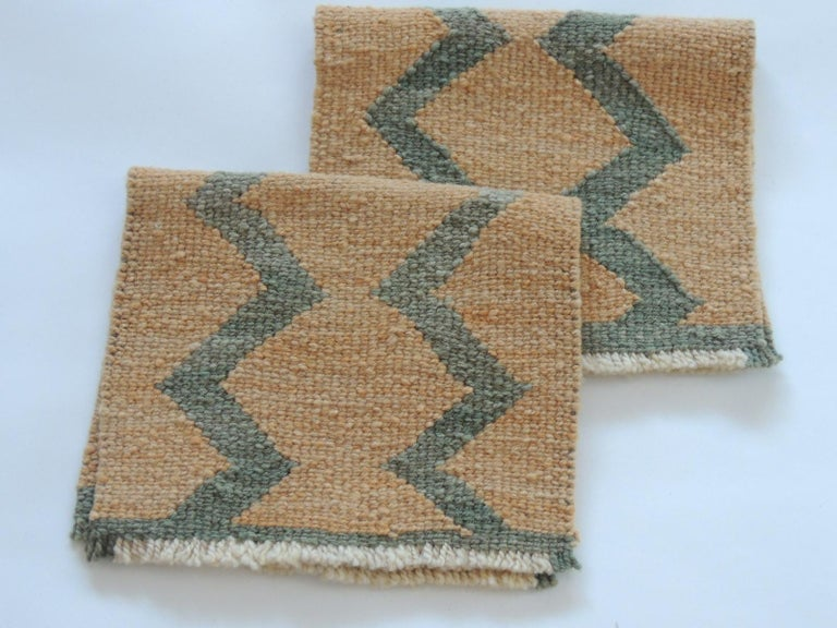 Pair of Vintage Pale Orange and Green Woven Rug Samples In Good Condition For Sale In Fort Lauderdale, FL
