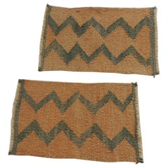 Pair of Vintage Pale Orange and Green Woven Rug Samples