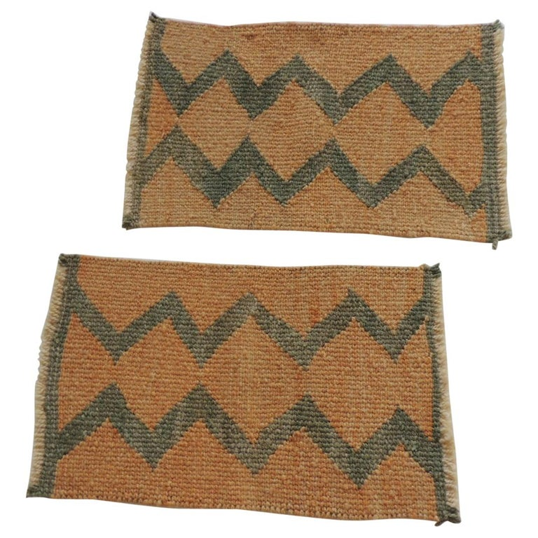 Pair of Vintage Pale Orange and Green Woven Rug Samples For Sale