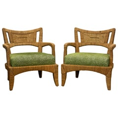 Pair of Vintage Palecek Woven Natural Seagrass Fiber Lounge Chairs and Cushions