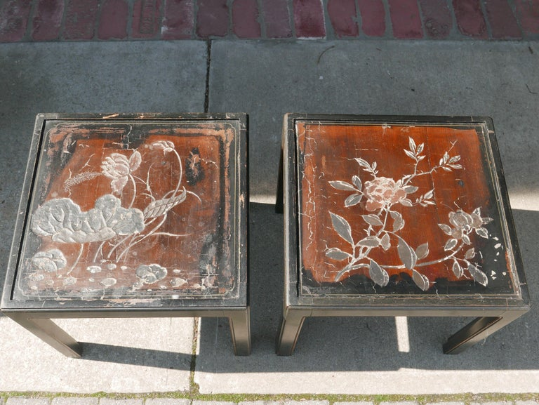 Chinoiserie Pair of Vintage Parsons Tables inset with 18th Century Chinese Panels For Sale
