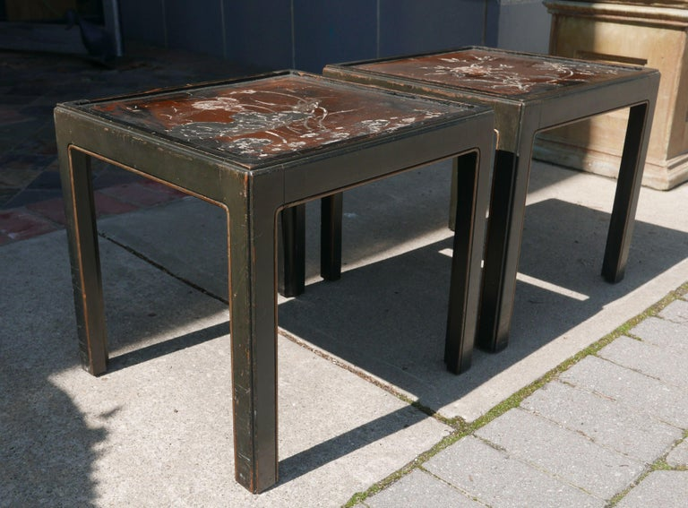 Unknown Pair of Vintage Parsons Tables inset with 18th Century Chinese Panels For Sale