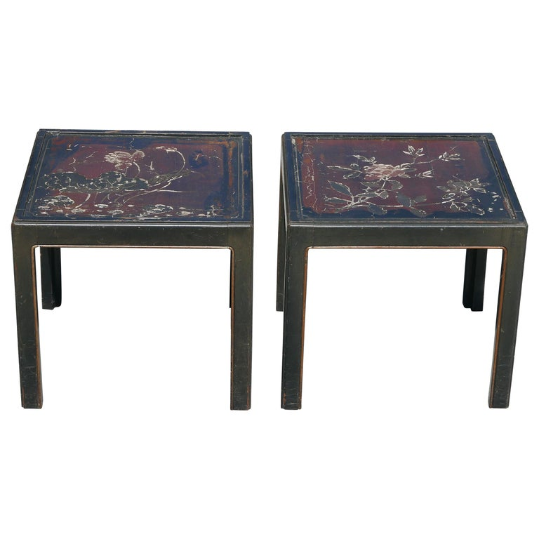 Pair of Vintage Parsons Tables inset with 18th Century Chinese Panels For Sale