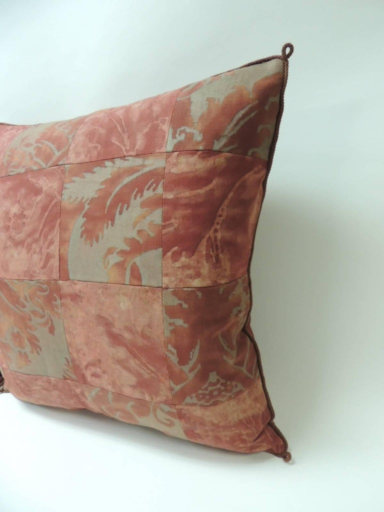 "Pair of vintage patchwork fortuny ""Glicine"" pattern red and silvery decorative pillows Pair of vintage fortuny ""Glicine"" pattern red and silvery decorative square pillows. Large squares of textiles using them as a patchwork pattern using front and"