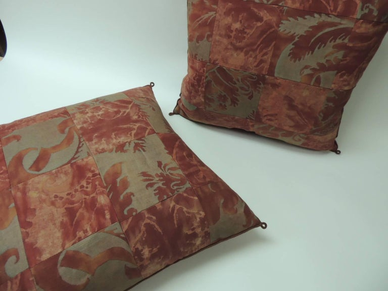 "Regency Pair of Vintage Patchwork Fortuny ""Glicine"" Pattern Red and Silvery Pillows For Sale"