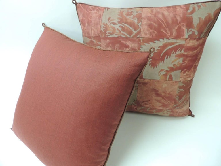 "Italian Pair of Vintage Patchwork Fortuny ""Glicine"" Pattern Red and Silvery Pillows For Sale"