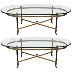 Pair of Vintage Patinated and Polished Bronze Coffee Tables
