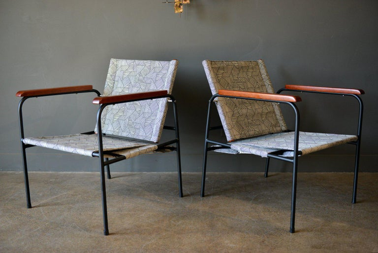 American Pair of Vintage Patio Chairs, circa 1970 For Sale