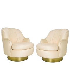Pair of Vintage Peach Milo Baughman Swivel Chairs with Brass Plinths