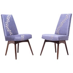 Pair of Vintage Pearsall Chairs with Laser-Cut Butterflies on Hide