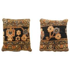 Pair of Vintage Persian Hamadan Carpet Pillows