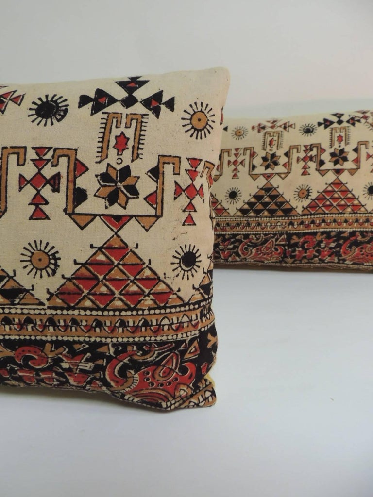 Moorish Pair Of Vintage Persian Hand Blocked Kalamkari Lumbar Decorative Throw Pillows For