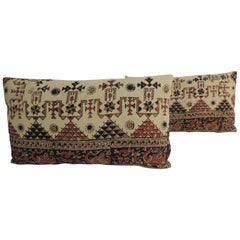 Pair of Vintage Persian Hand-Blocked Kalamkari Lumbar Decorative Throw Pillows