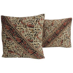 Pair of Vintage Persian Hand-Blocked Kalamkari Square Throw Pillows
