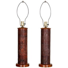 Pair of Vintage Peruvian Leather Lamps with Llama and Greek Key Decorations