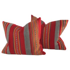 Pair of Vintage Peruvian Striped Pillows
