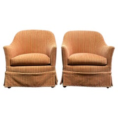 Pair of Vintage Petite Upholstered Barrel Chairs