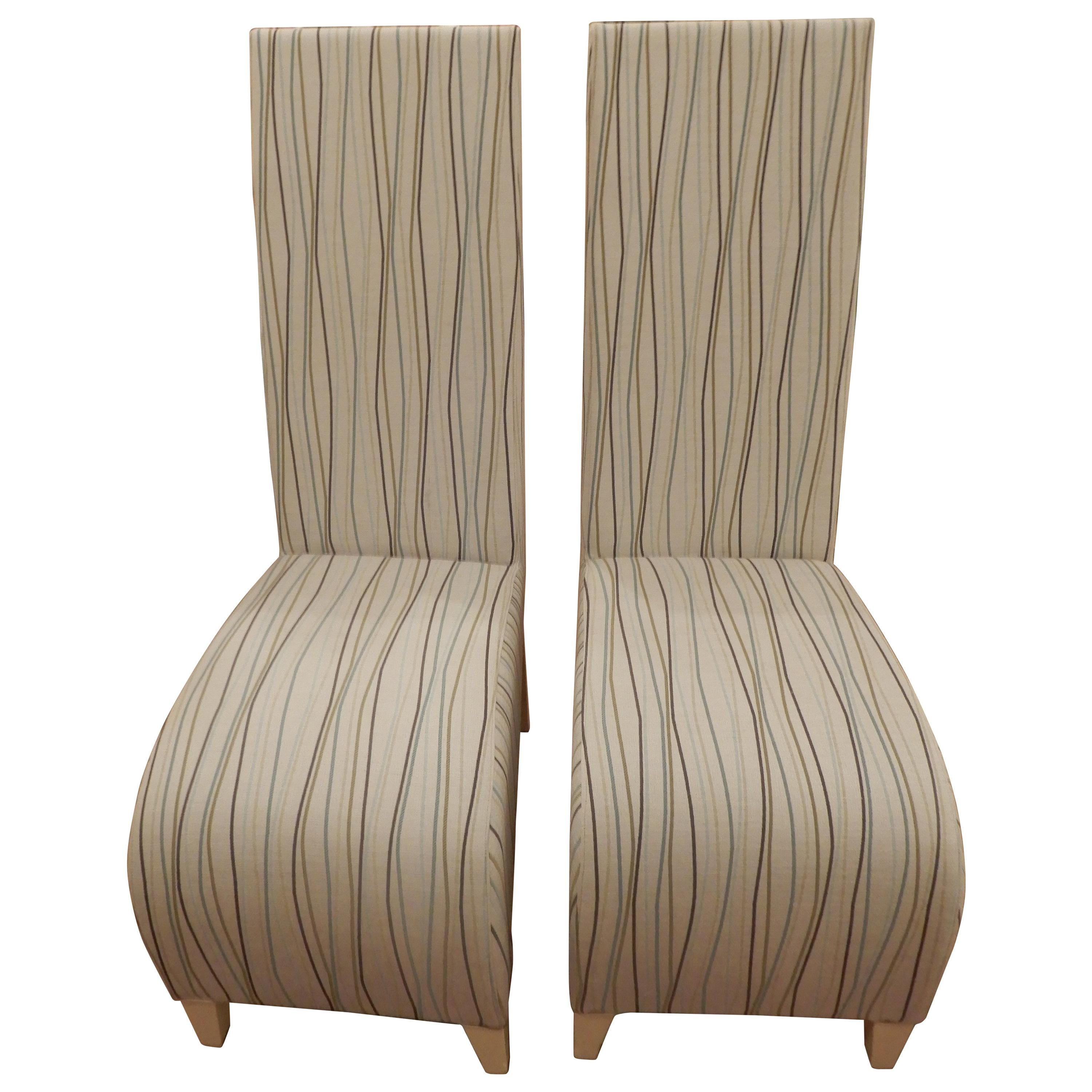Pair of Vintage Phillipe Starck with Clarence House Lemon Grass High Back Chairs