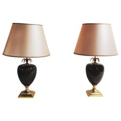 Pair of Vintage Pineapple Table Lamps by Maison Le Dauphin, 1970s