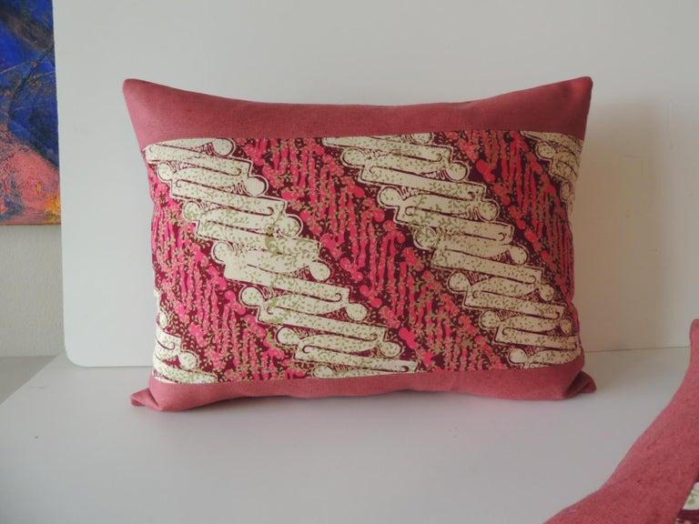 Bohemian Pair of Vintage Pink and Red Batik Lumbar Decorative Pillows For Sale