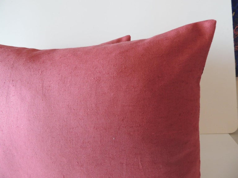 Hand-Crafted Pair of Vintage Pink and Red Batik Lumbar Decorative Pillows For Sale