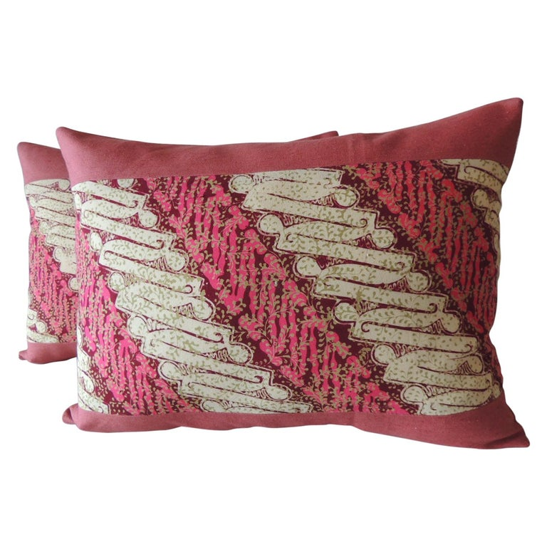 Pair of Vintage Pink and Red Batik Lumbar Decorative Pillows For Sale