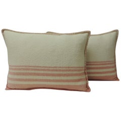 Pair of Vintage Pink & Natural Stripes English Wool Decorative Bolster Pillows