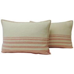 Pair of Vintage Pink & Natural Stripes English Wool Decorative Lumbar Pillows
