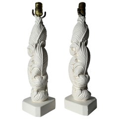 Pair of Vintage Plaster Palm Table Lamps in style of Serge Roche