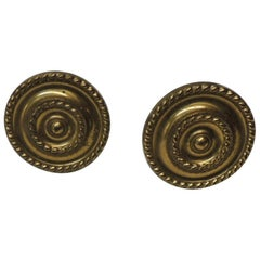 Pair of Vintage Polished Brass Curtain Tiebacks