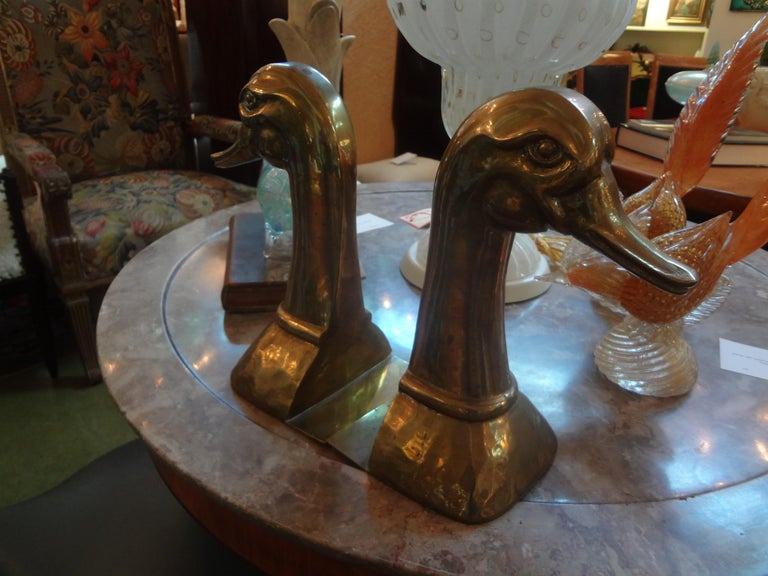 Mid-20th Century Huge Pair of Vintage Polished Brass Duck Bookends by Sarreid Ltd For Sale