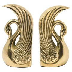 Pair of Vintage Polished Cast Brass Art Deco Swan Bookends, circa 1950