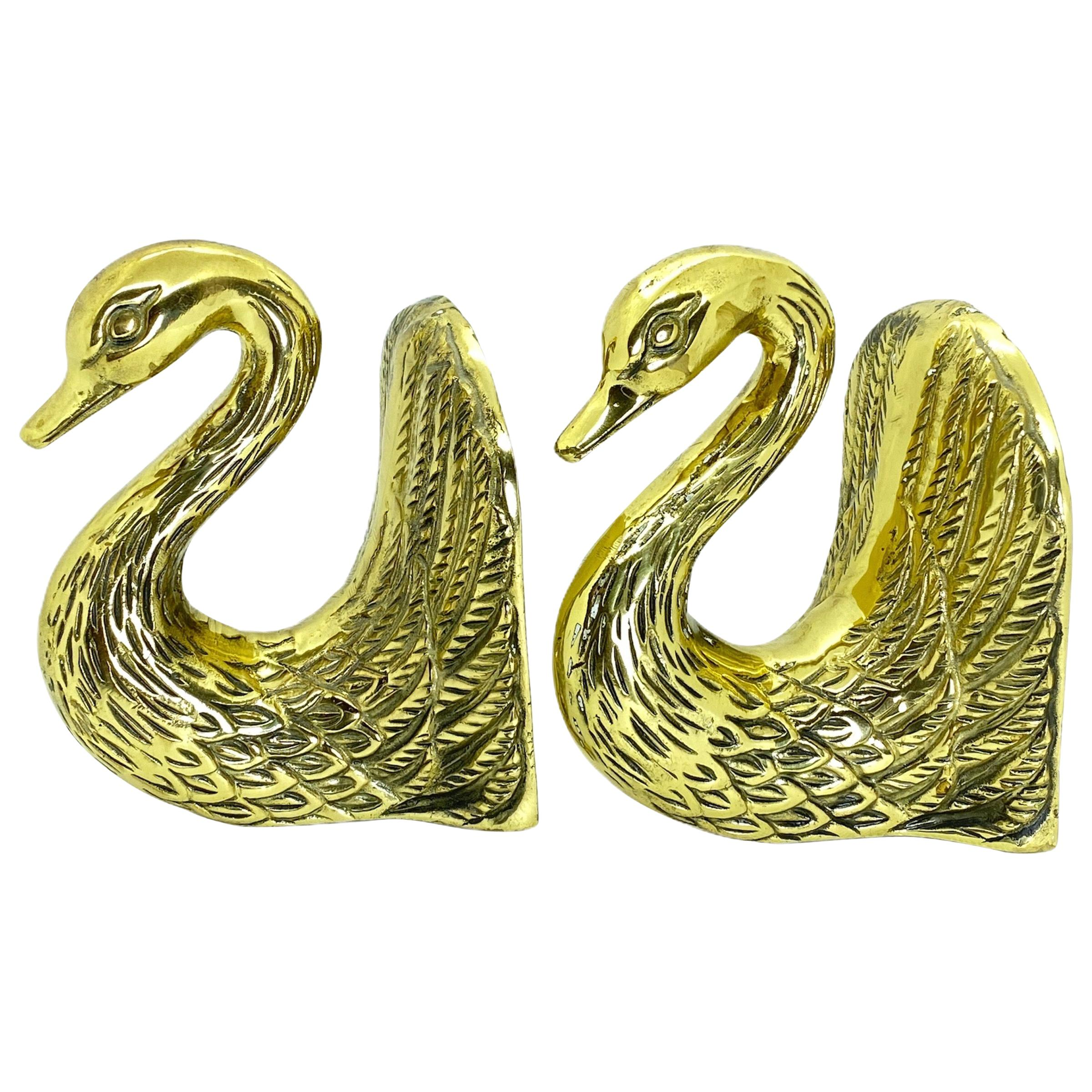 Pair of Vintage Polished Cast Brass Swan Bookends, circa 1950