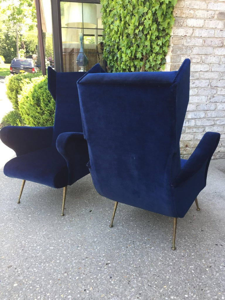 Pair of Vintage Ponti inspired Wingback Chairs For Sale 4