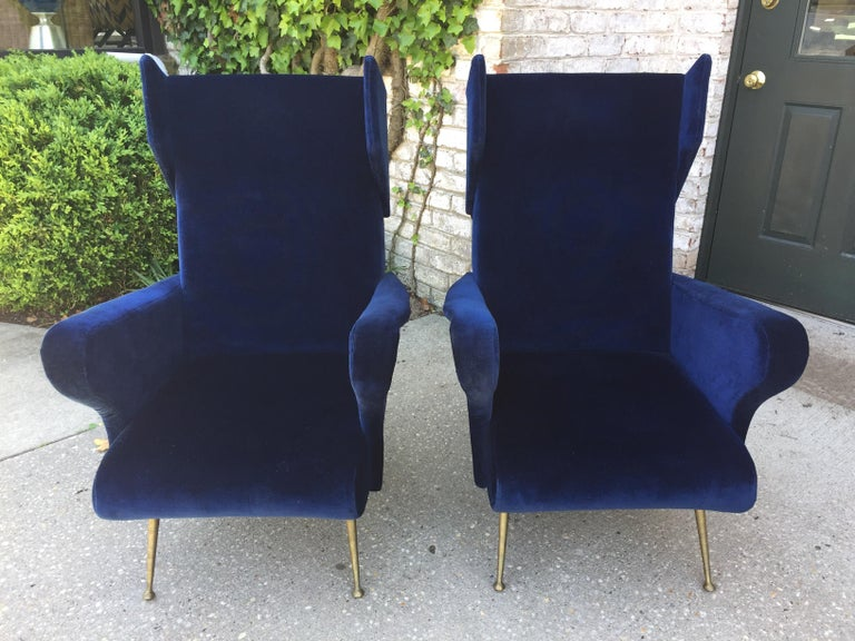 Brass Pair of Vintage Ponti inspired Wingback Chairs For Sale