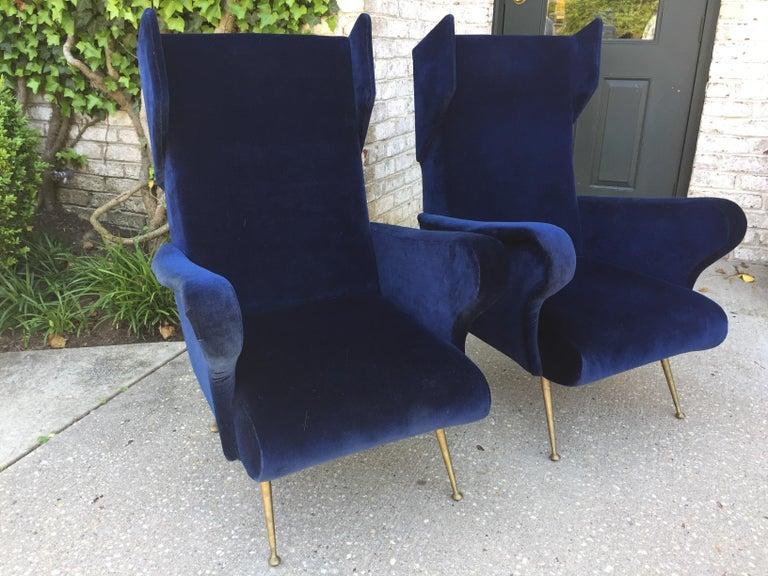Pair of Vintage Ponti inspired Wingback Chairs For Sale 1