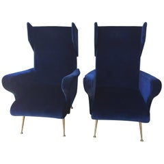Pair of Vintage Ponti inspired Wingback Chairs